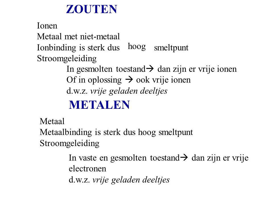 ZOUTEN METALEN Ionen Metaal met niet-metaal