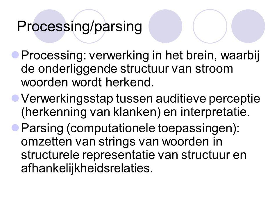 Processing/parsing Processing: verwerking in het brein, waarbij de onderliggende structuur van stroom woorden wordt herkend.