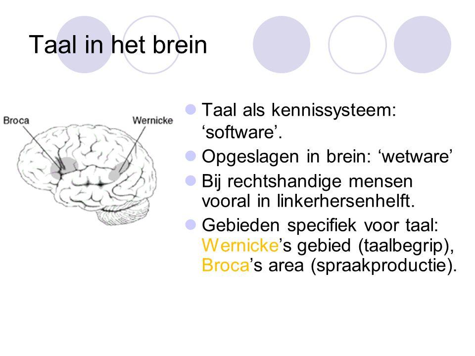 Taal in het brein Taal als kennissysteem: 'software'.