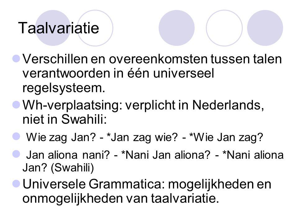 Taalvariatie Verschillen en overeenkomsten tussen talen verantwoorden in één universeel regelsysteem.