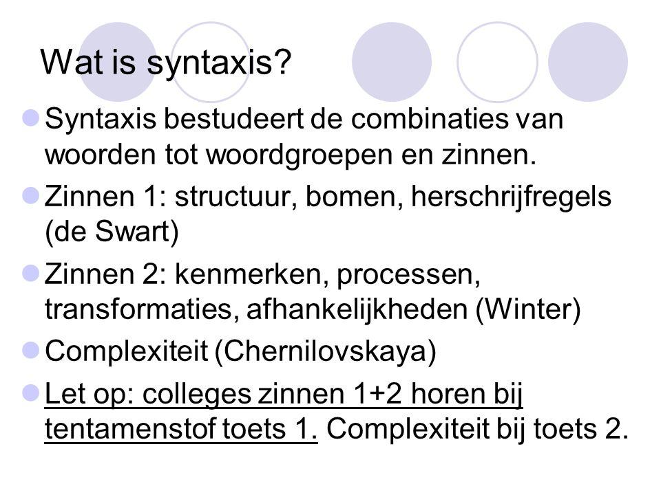 Wat is syntaxis Syntaxis bestudeert de combinaties van woorden tot woordgroepen en zinnen. Zinnen 1: structuur, bomen, herschrijfregels (de Swart)