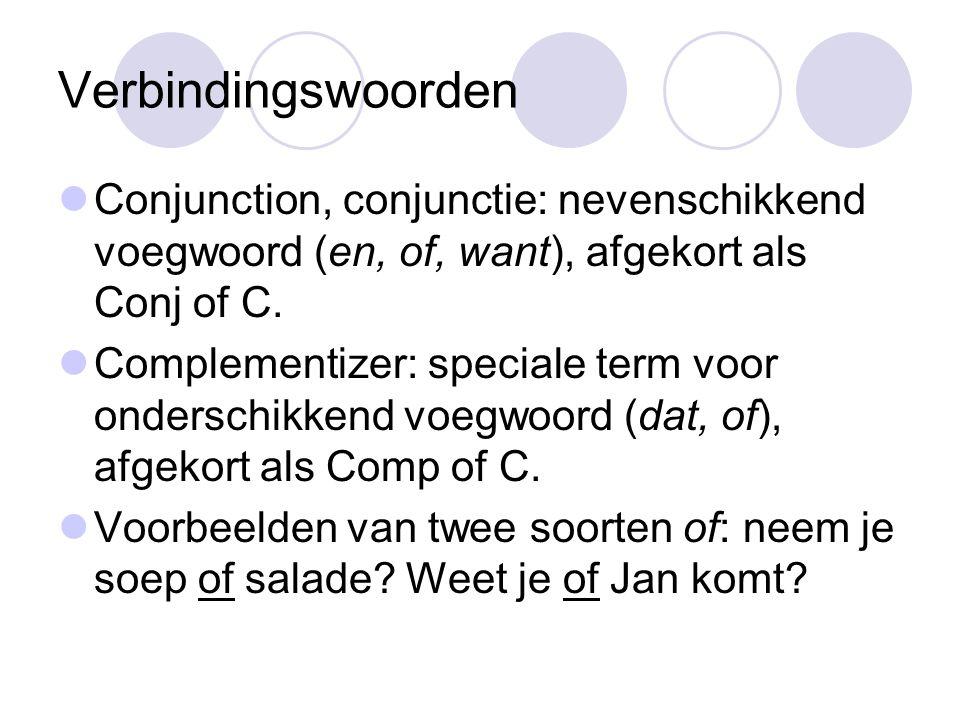 Verbindingswoorden Conjunction, conjunctie: nevenschikkend voegwoord (en, of, want), afgekort als Conj of C.