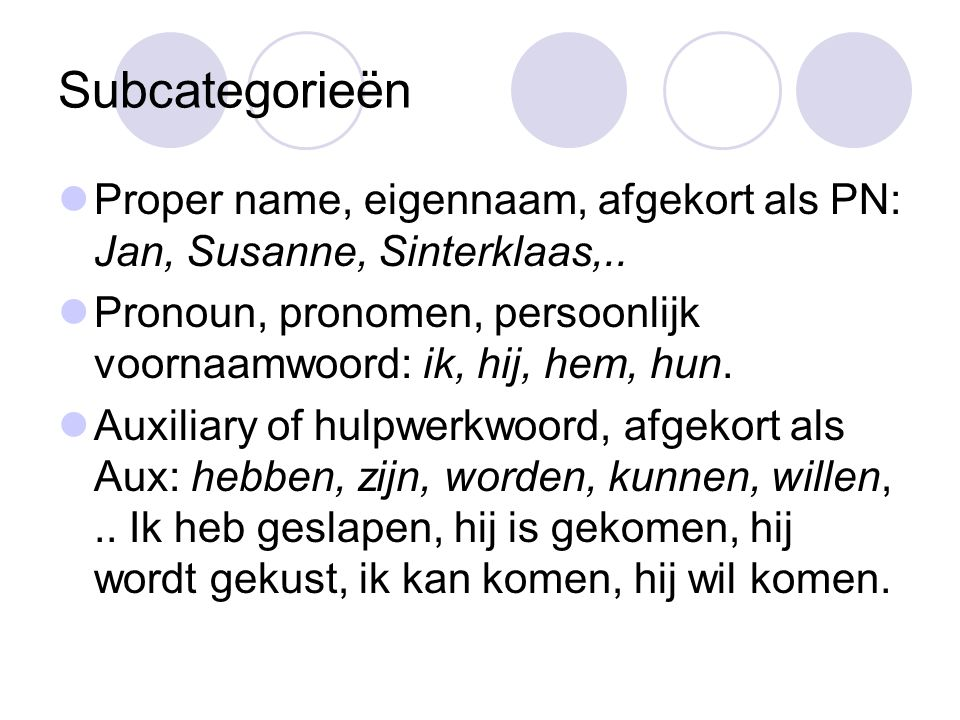 Subcategorieën Proper name, eigennaam, afgekort als PN: Jan, Susanne, Sinterklaas,..