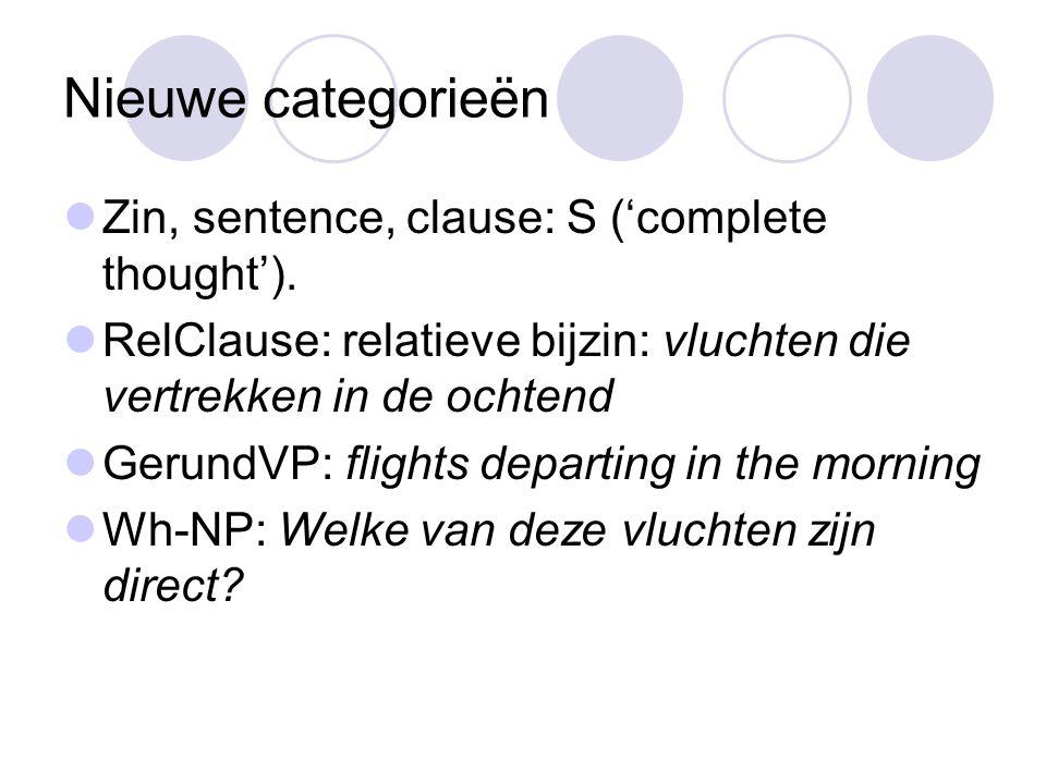 Nieuwe categorieën Zin, sentence, clause: S ('complete thought').