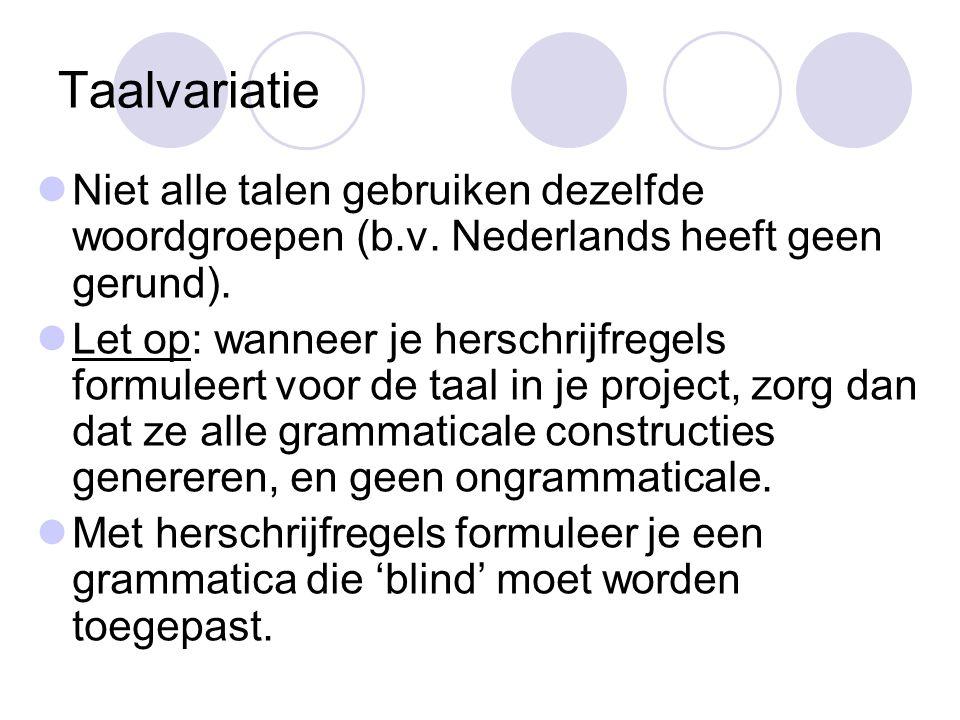 Taalvariatie Niet alle talen gebruiken dezelfde woordgroepen (b.v. Nederlands heeft geen gerund).