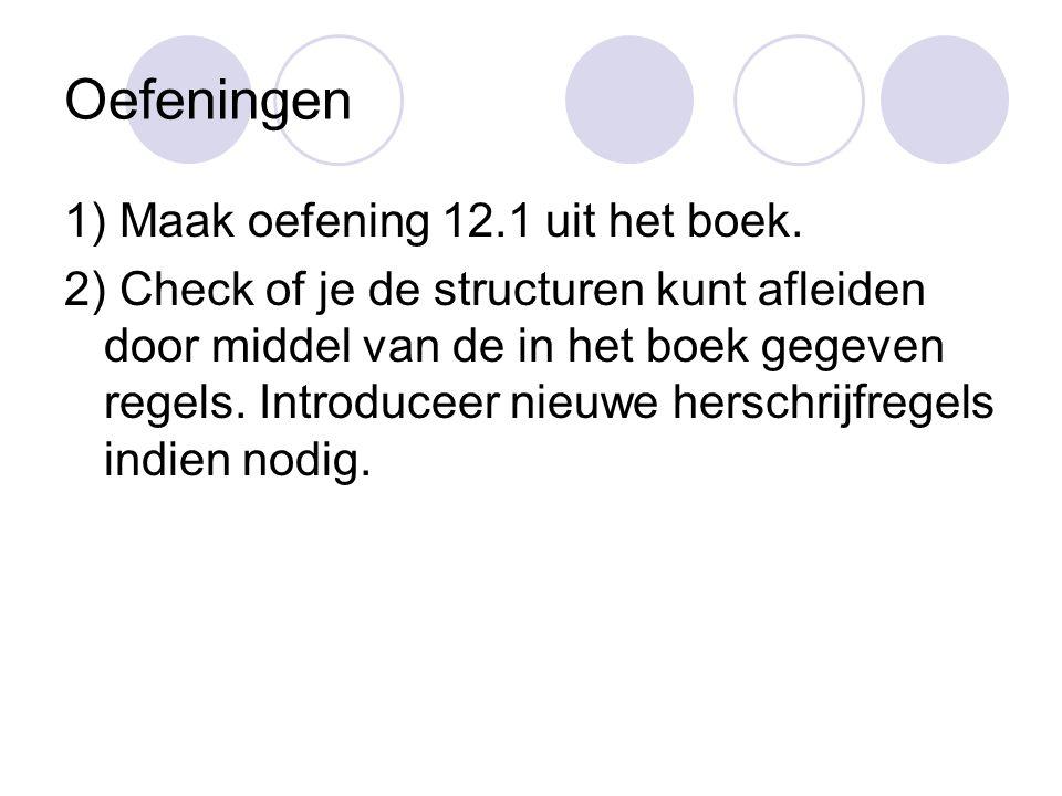 Oefeningen 1) Maak oefening 12.1 uit het boek.