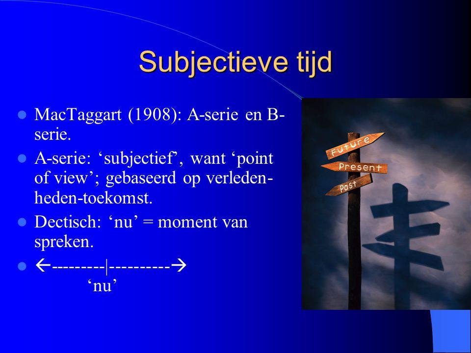 Subjectieve tijd MacTaggart (1908): A-serie en B-serie.