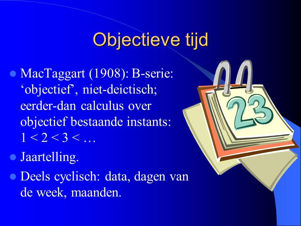 Objectieve tijd MacTaggart (1908): B-serie: 'objectief', niet-deictisch; eerder-dan calculus over objectief bestaande instants: 1 < 2 < 3 < …