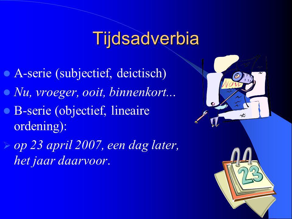 Tijdsadverbia A-serie (subjectief, deictisch)