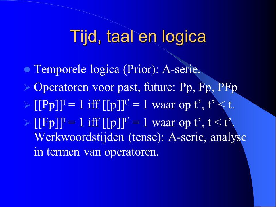 Tijd, taal en logica Temporele logica (Prior): A-serie.
