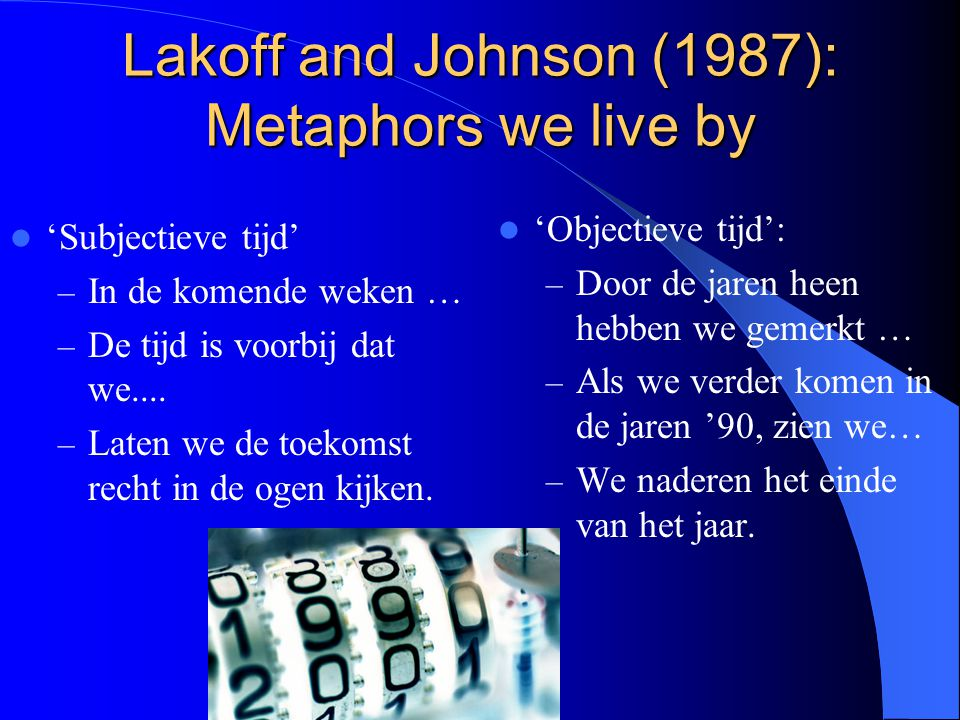 Lakoff and Johnson (1987): Metaphors we live by