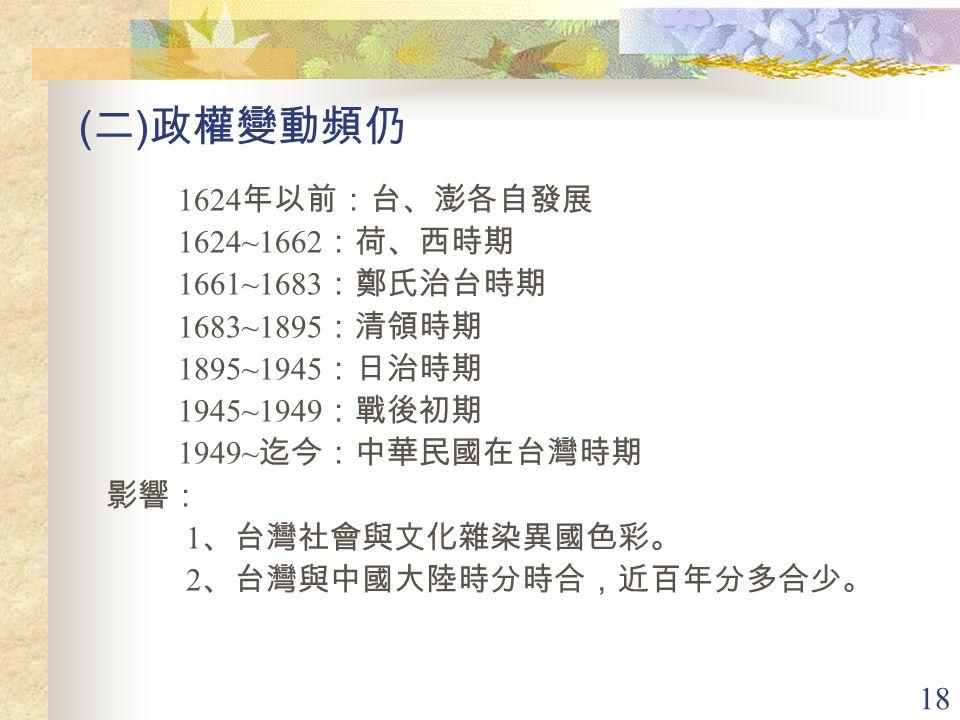 (二)政權變動頻仍 1624年以前:台、澎各自發展 1624~1662:荷、西時期 1661~1683:鄭氏治台時期