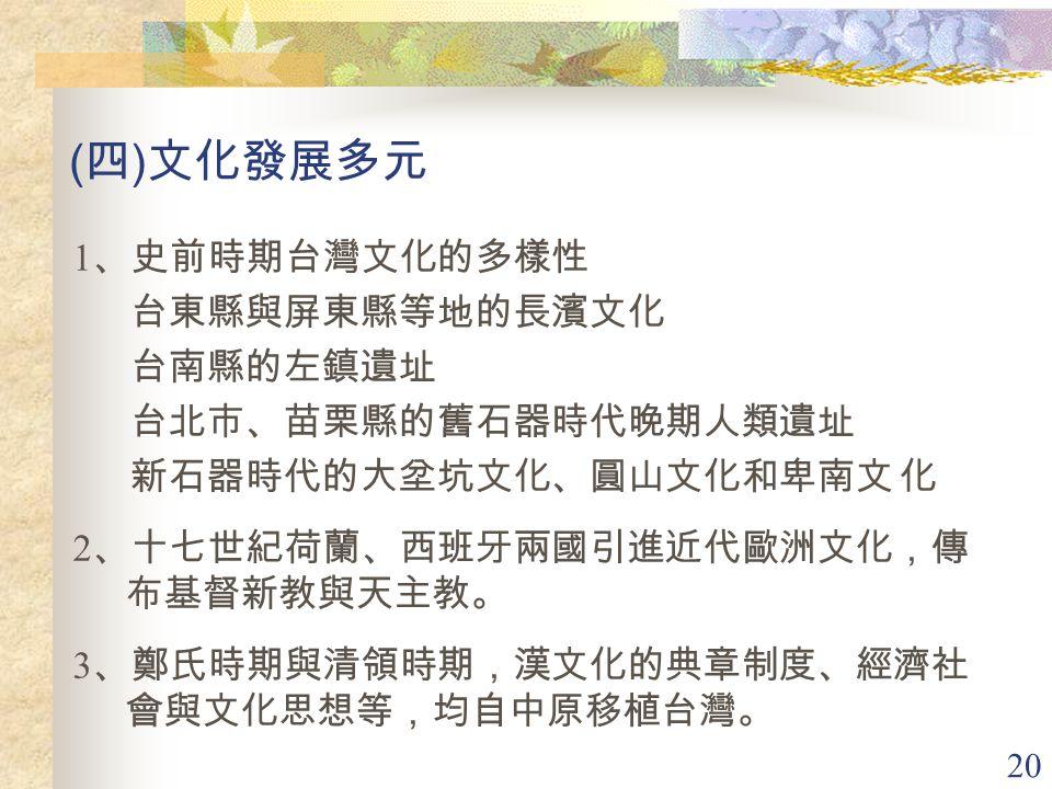 (四)文化發展多元 1、史前時期台灣文化的多樣性 台東縣與屏東縣等地的長濱文化 台南縣的左鎮遺址 台北市、苗栗縣的舊石器時代晚期人類遺址