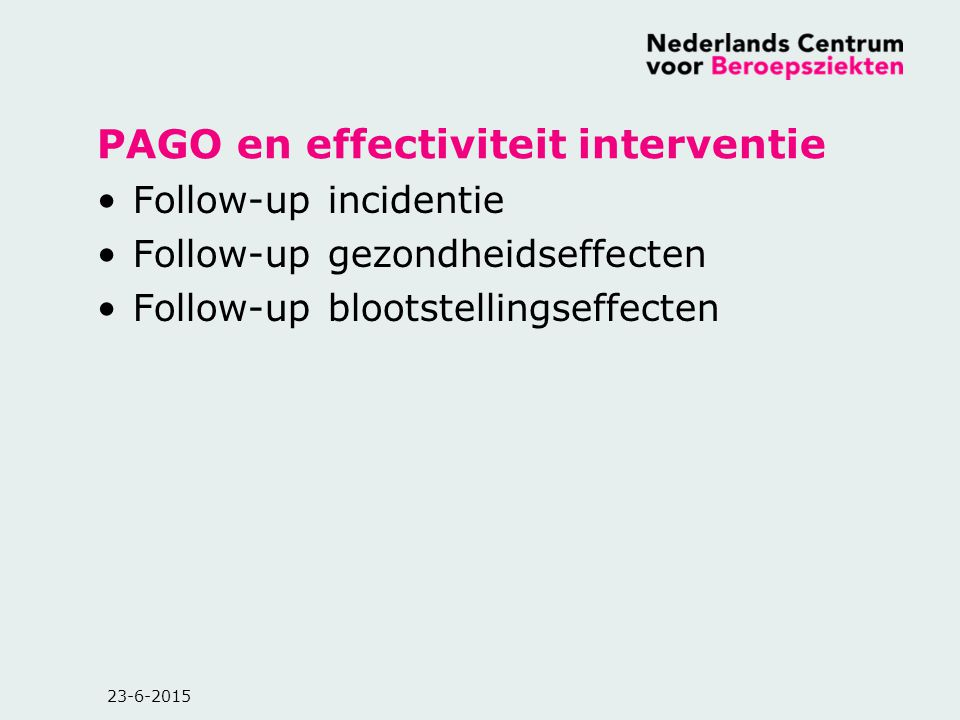 PAGO en effectiviteit interventie