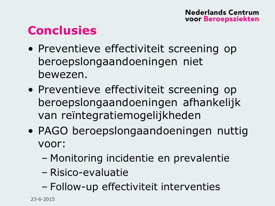 Conclusies Preventieve effectiviteit screening op beroepslongaandoeningen niet bewezen.