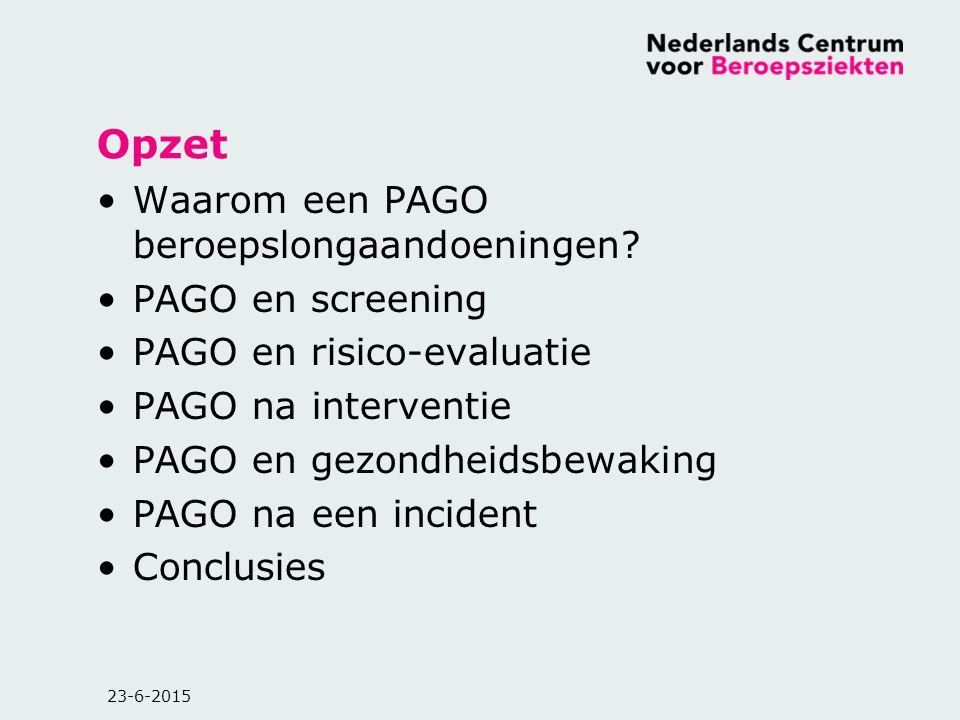 Opzet Waarom een PAGO beroepslongaandoeningen PAGO en screening