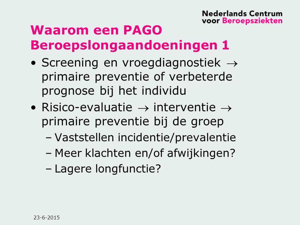 Waarom een PAGO Beroepslongaandoeningen 1