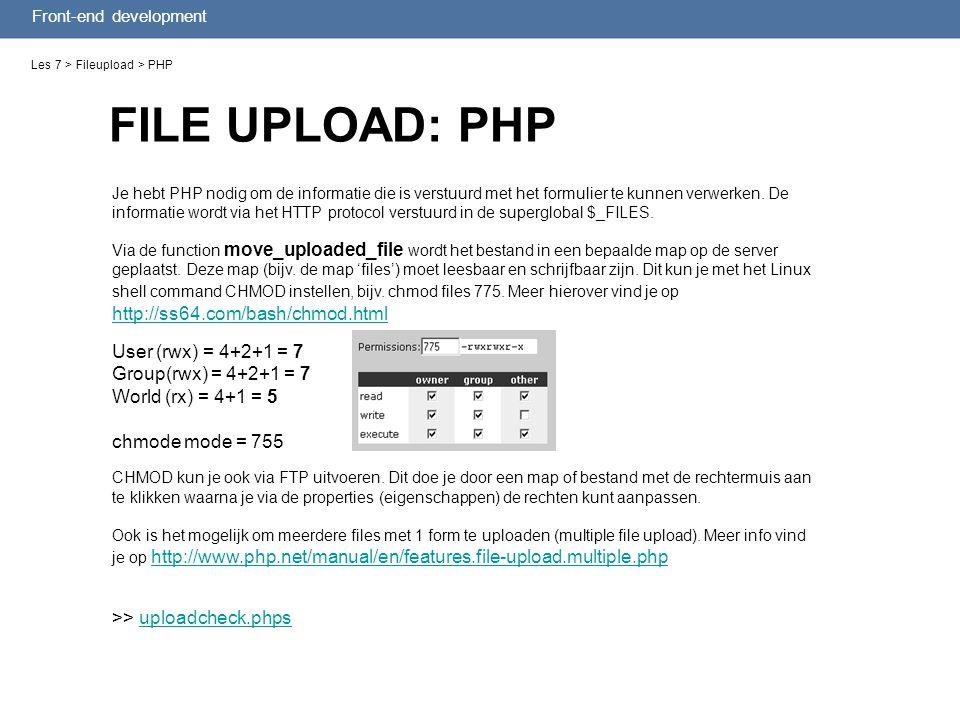 FILE UPLOAD: PHP Les 7 > Fileupload > PHP