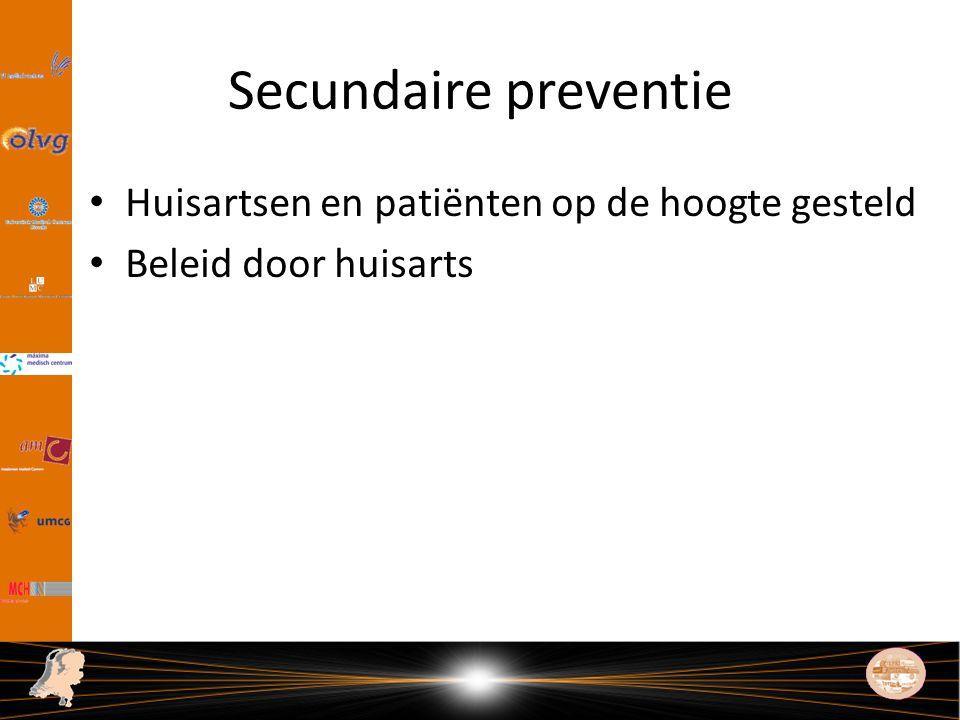 Secundaire preventie Huisartsen en patiënten op de hoogte gesteld