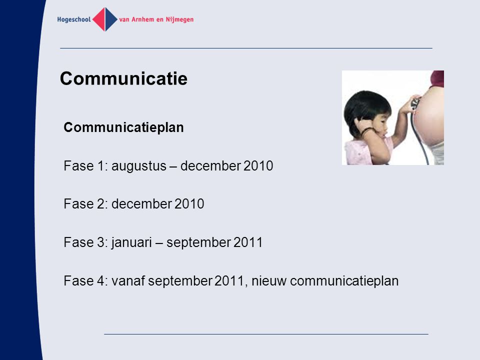 Communicatie Communicatieplan Fase 1: augustus – december 2010