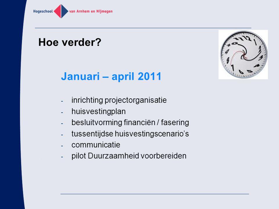 Hoe verder Januari – april 2011 inrichting projectorganisatie