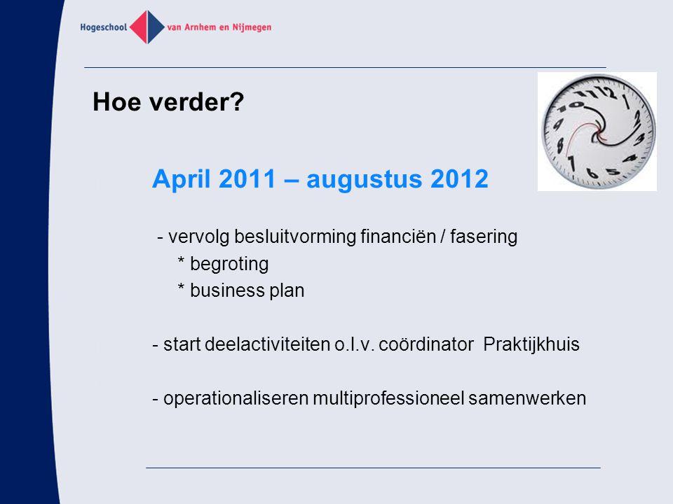 Hoe verder April 2011 – augustus 2012