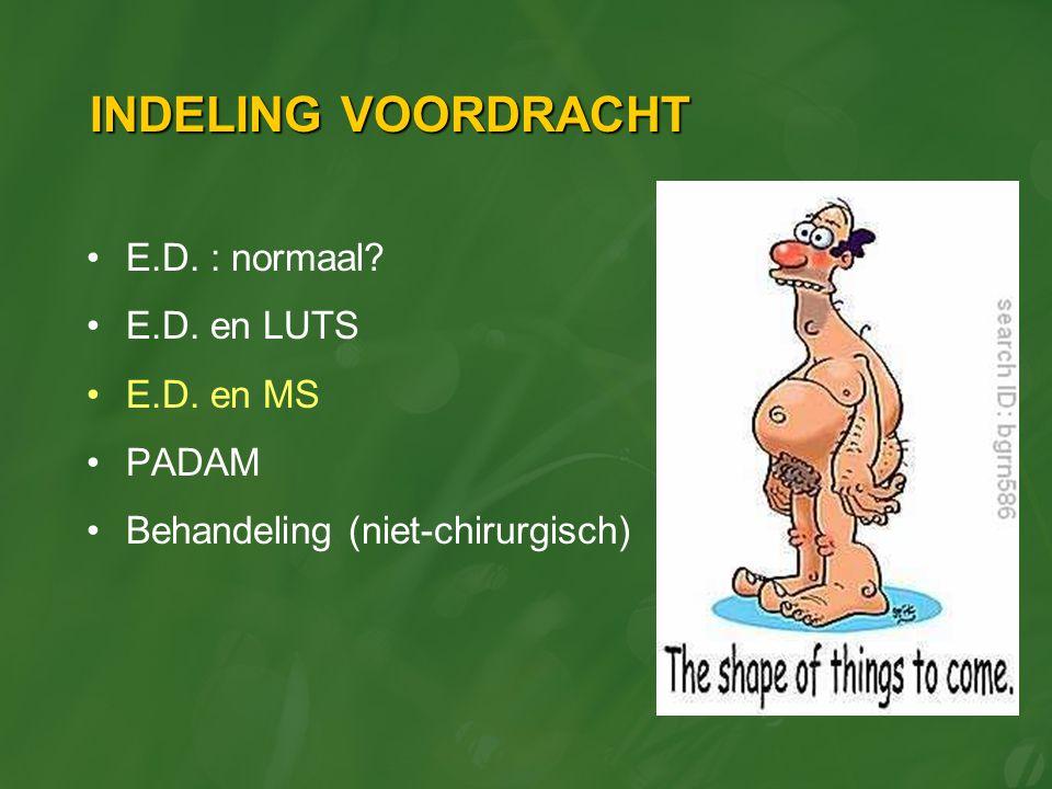 INDELING VOORDRACHT E.D. : normaal E.D. en LUTS E.D. en MS PADAM