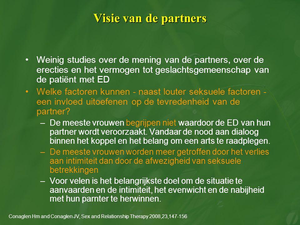 Visie van de partners Weinig studies over de mening van de partners, over de erecties en het vermogen tot geslachtsgemeenschap van de patiënt met ED.