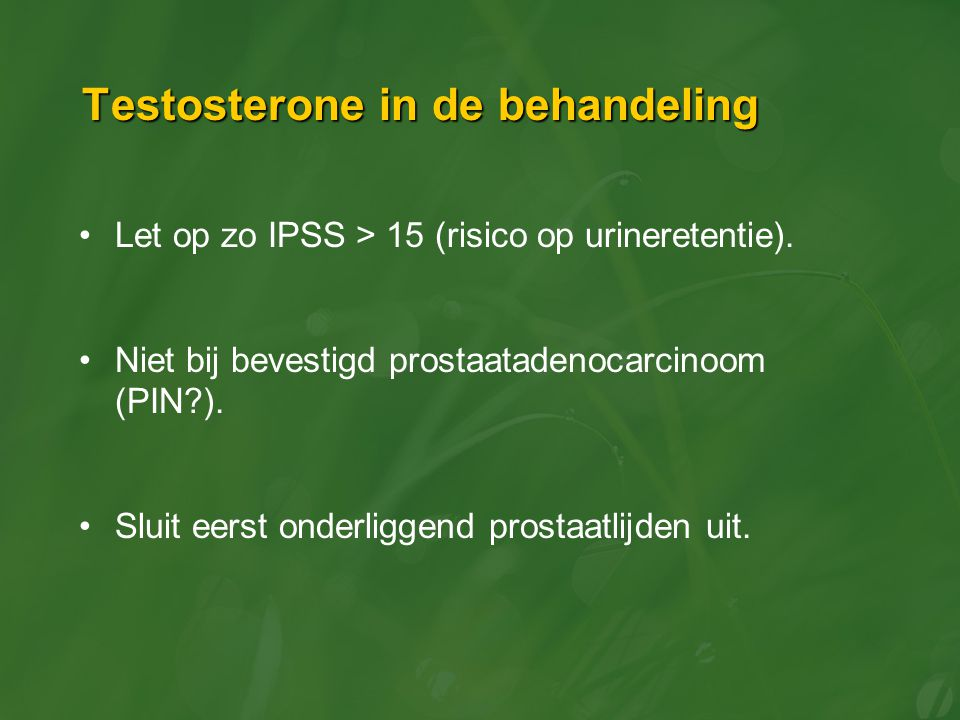 Testosterone in de behandeling