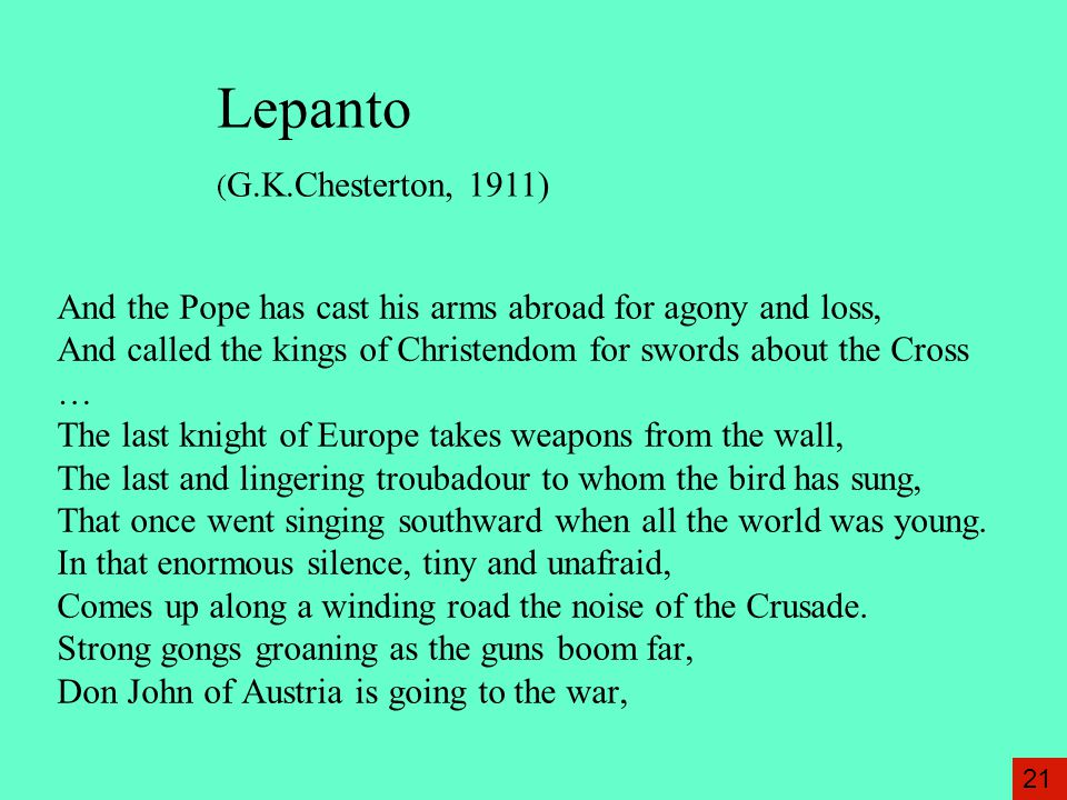 Lepanto (G.K.Chesterton, 1911)