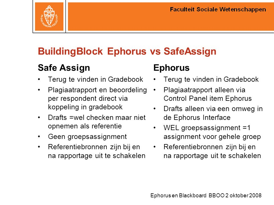 BuildingBlock Ephorus vs SafeAssign
