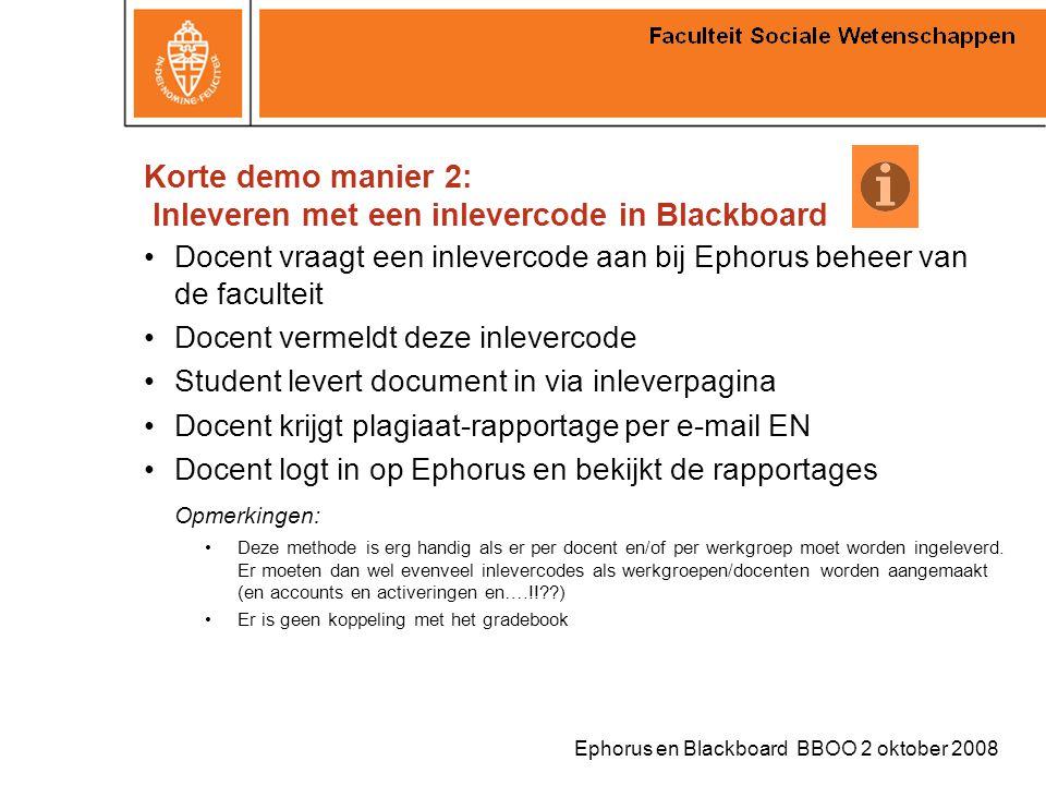 Korte demo manier 2: Inleveren met een inlevercode in Blackboard