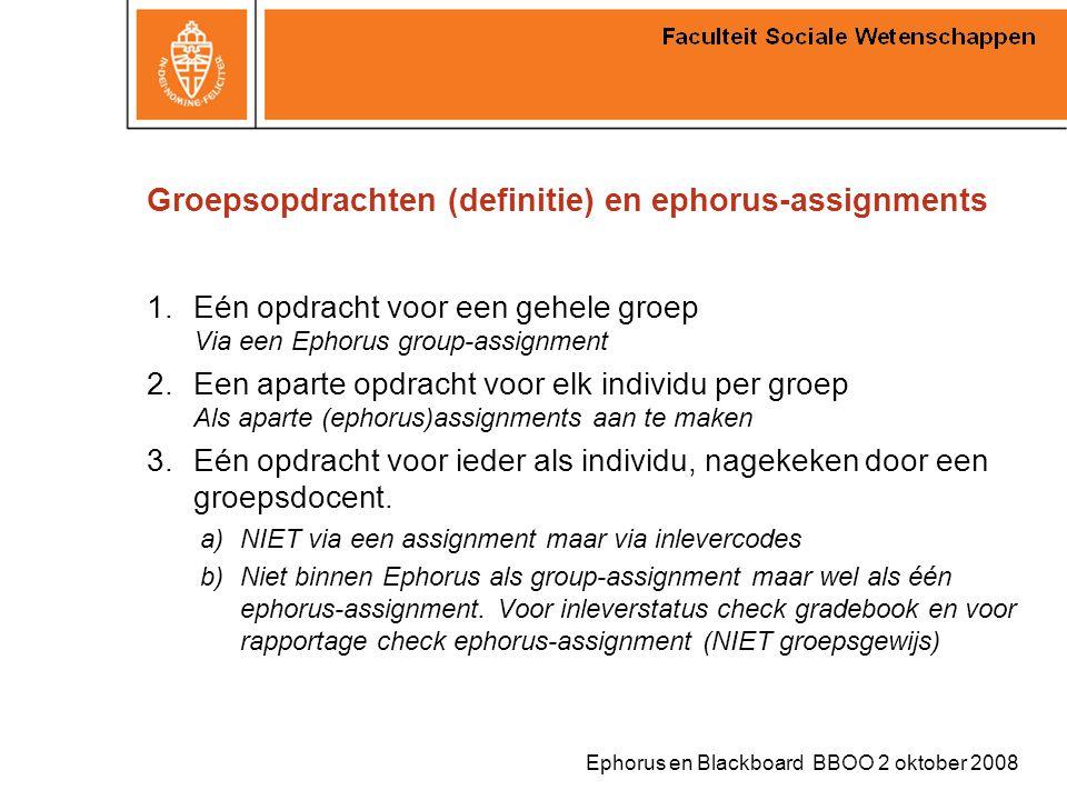 Groepsopdrachten (definitie) en ephorus-assignments