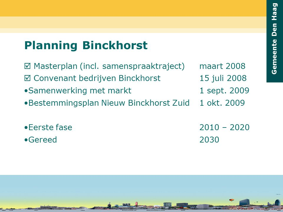 Planning Binckhorst  Masterplan (incl. samenspraaktraject) maart 2008