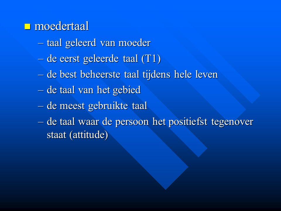 moedertaal taal geleerd van moeder de eerst geleerde taal (T1)