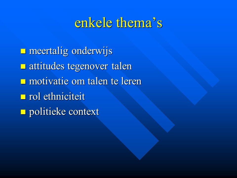 enkele thema's meertalig onderwijs attitudes tegenover talen