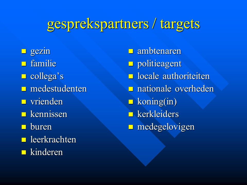 gesprekspartners / targets