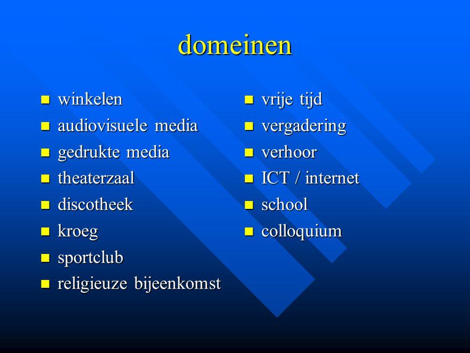 domeinen winkelen audiovisuele media gedrukte media theaterzaal