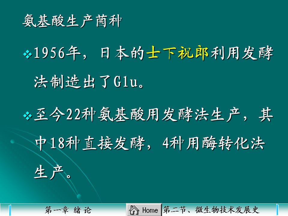 1956年,日本的士下祝郎利用发酵法制造出了Glu。