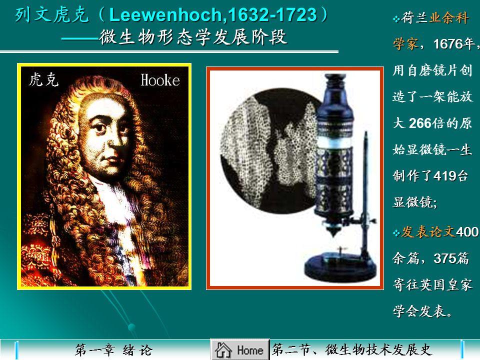 列文虎克(Leewenhoch,1632-1723) ——微生物形态学发展阶段