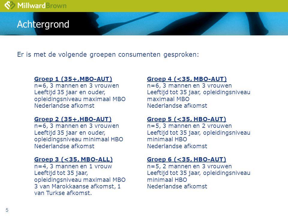 Achtergrond Er is met de volgende groepen consumenten gesproken: