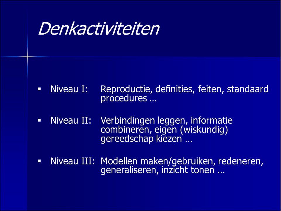 Denkactiviteiten Niveau I: Reproductie, definities, feiten, standaard procedures …