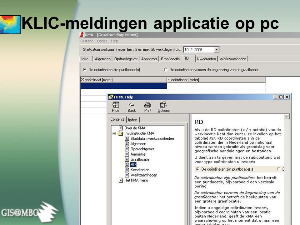KLIC-meldingen applicatie op pc