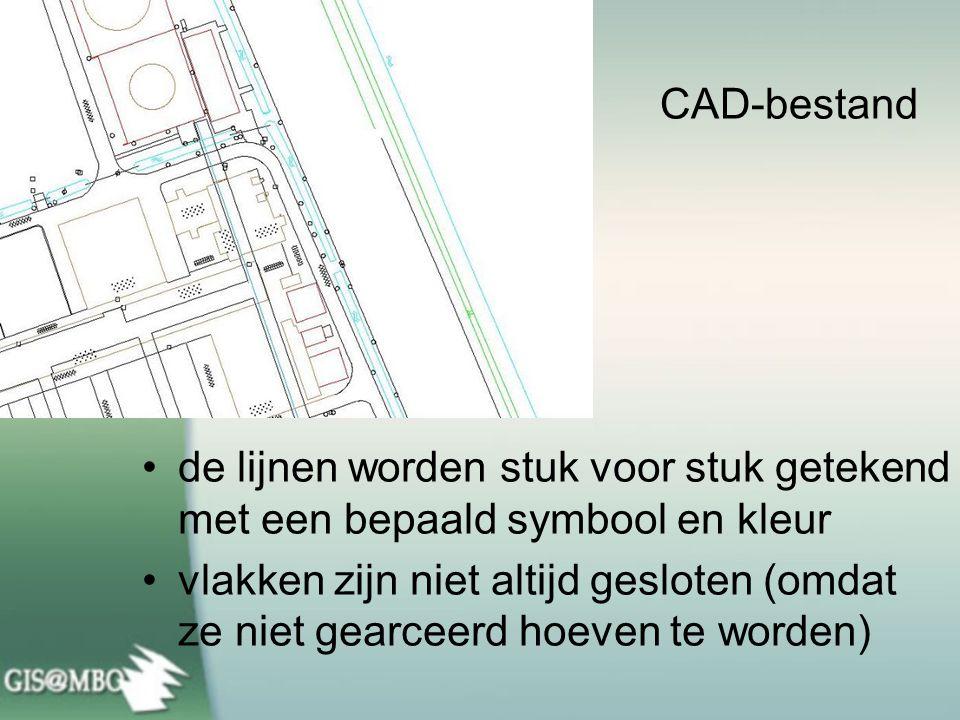 CAD-bestand de lijnen worden stuk voor stuk getekend met een bepaald symbool en kleur.