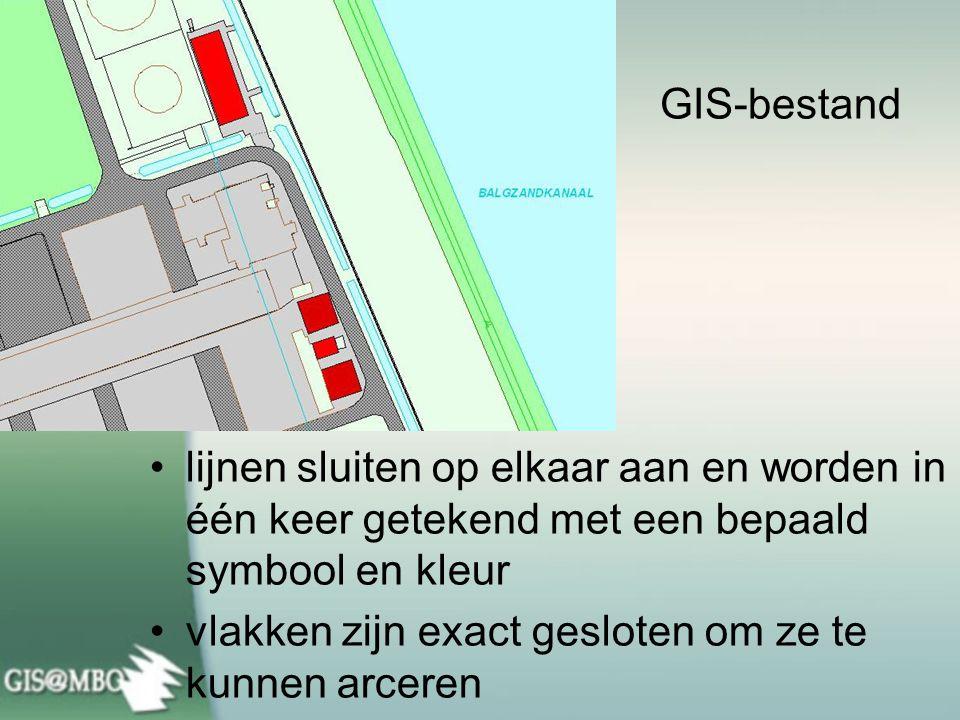 GIS-bestand lijnen sluiten op elkaar aan en worden in één keer getekend met een bepaald symbool en kleur.