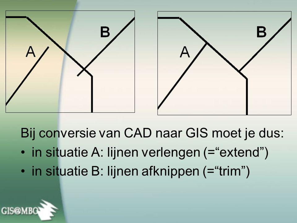 Bij conversie van CAD naar GIS moet je dus: