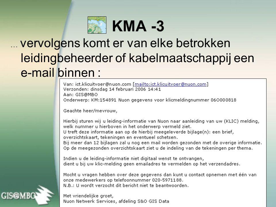 KMA -3 … vervolgens komt er van elke betrokken leidingbeheerder of kabelmaatschappij een e-mail binnen :
