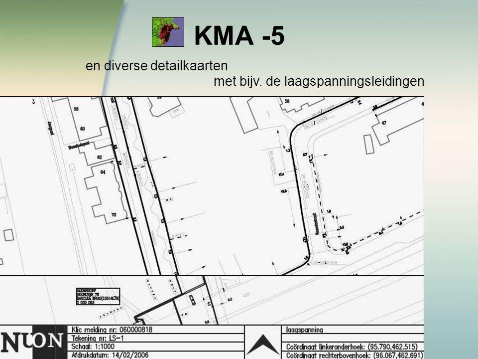 KMA -5 en diverse detailkaarten met bijv. de laagspanningsleidingen