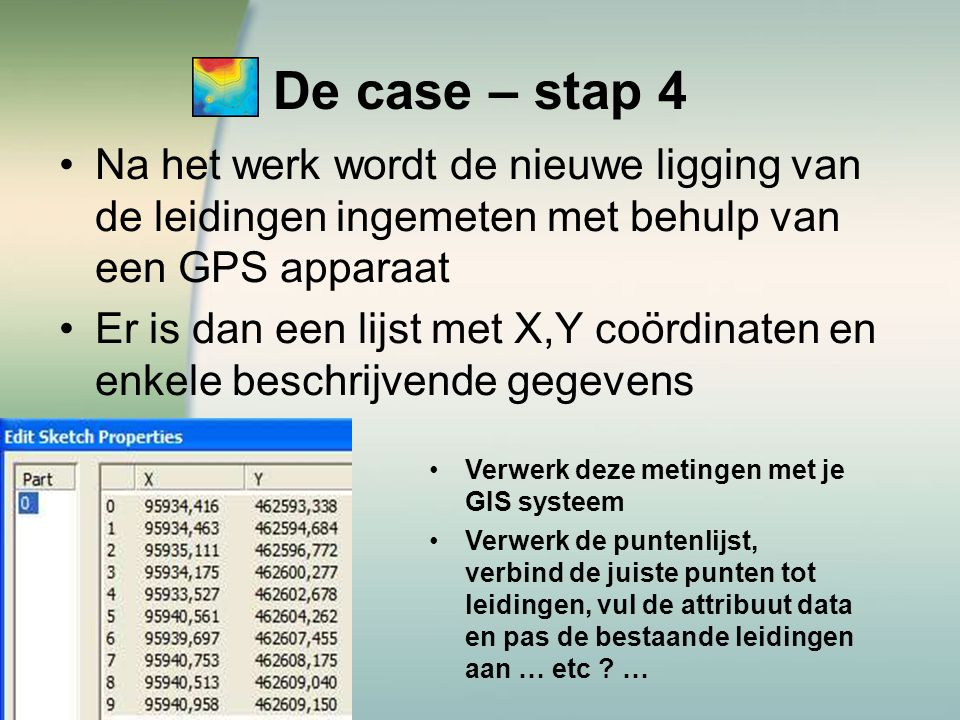 De case – stap 4 Na het werk wordt de nieuwe ligging van de leidingen ingemeten met behulp van een GPS apparaat.