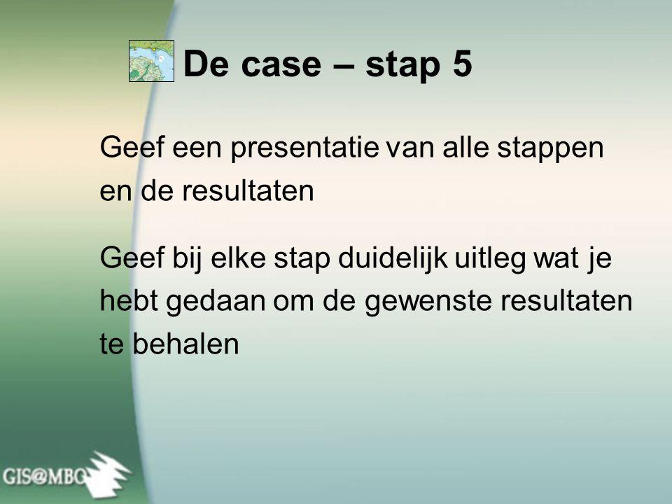 De case – stap 5 Geef een presentatie van alle stappen